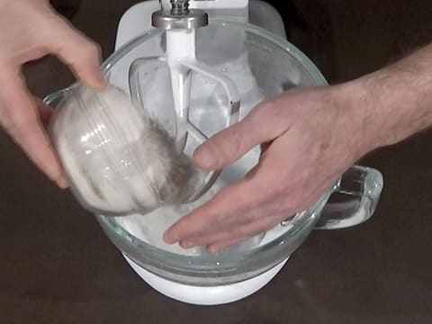 Add flour to stand mixer bowl