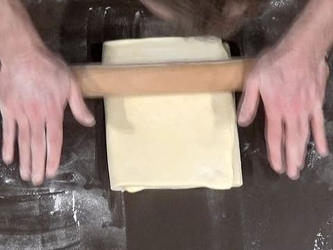 Roll out the dough lengthwise with a rolling pin
