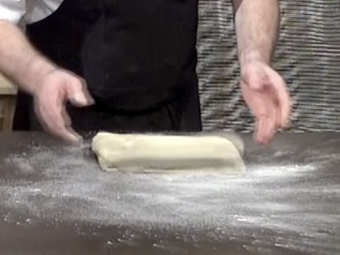 Place the dough on the floured kitchen workbench