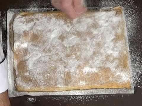 Sprinkle castor sugar over the puff pastry