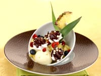 Pineapple & Coconut Sorbet with Chocolate-Coated Meringues