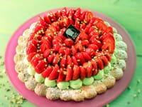 Pistachio Dacquoise with Strawberries