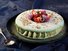 Pistachio Macaron Cake with Red Berries