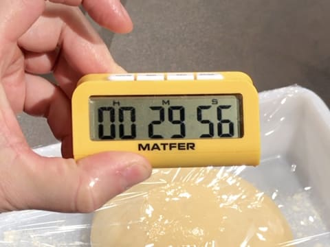 A timer is showing 29 minutes and 56 seconds, the food tray is in the background