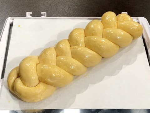 The plaited brioche is glazed