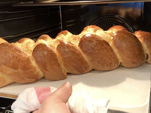 The brioche is cooked, out of the oven