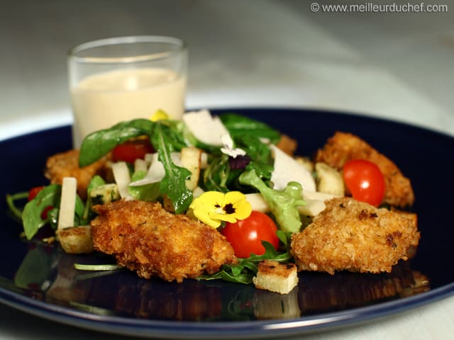 Salad with Spicy Chicken Nuggets