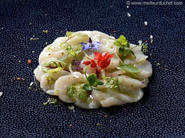 Scallop Carpaccio, Finger Lime & Yucca Flower