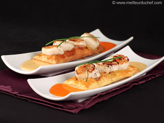 Scallops on Puff Pastry with Garlic Sauce