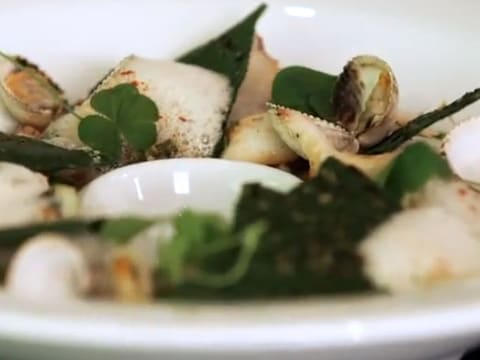 Seared Baby Squid with Cockles & Samphire - 43