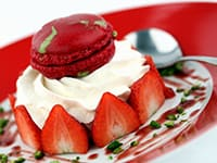 Strawberry & Pistachio Macarons with Chantilly Cream