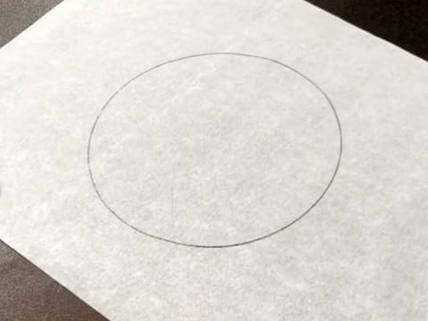 The ring is drawn on the baking parchment