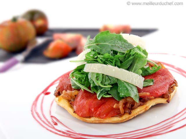 Tomato Tarte Tatin with Rocket & Parmesan