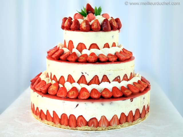Fraisier Strawberry Wedding Cake