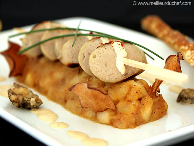 Boudin Blanc with Apples, Morel Cream Sauce